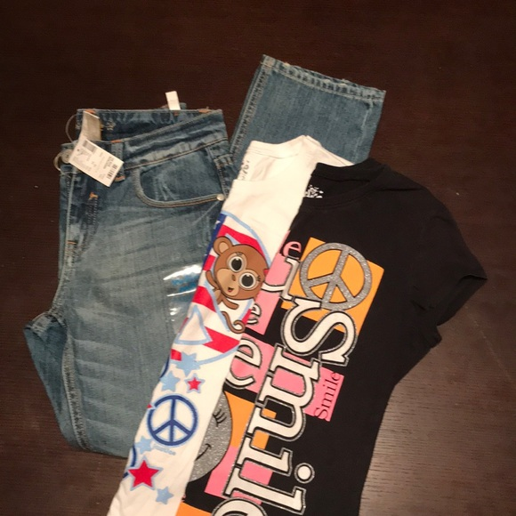 f017e33f9d Girls Justice 12 Jeans and 2 Black White Shirts